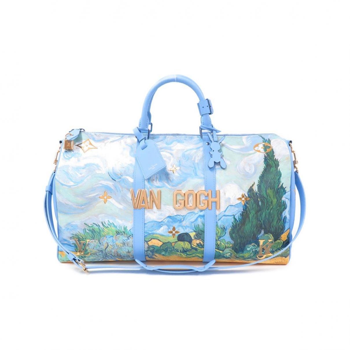 Louis Vuitton - Sac de voyage Keepall pour femme en cuir - bleu