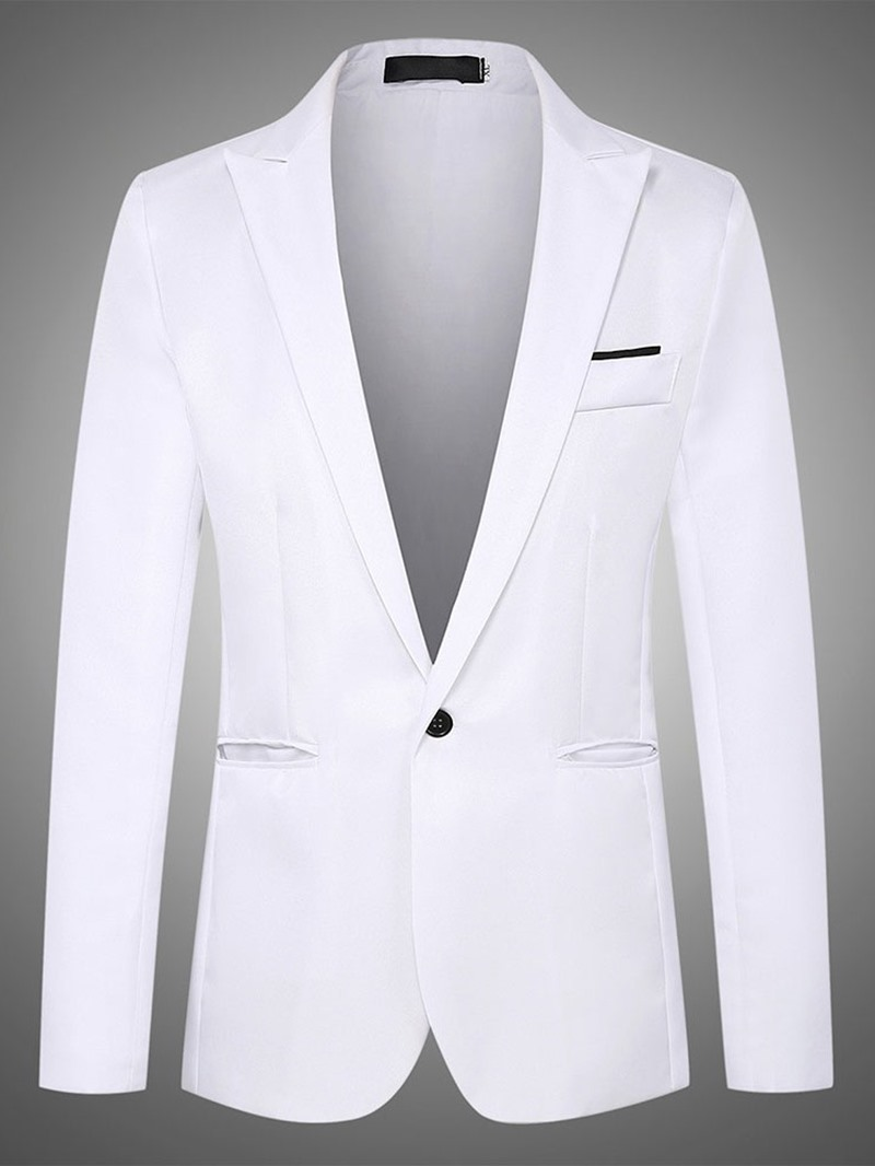 Ericdress Slim Notched Lapel One Button Mens Blazer