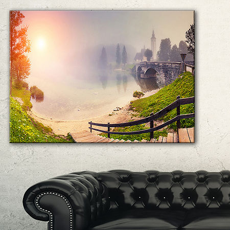 Designart Majestic Foggy Morning In Lake Canvas Art, One Size , Green