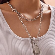 1pc Lock Charm Layered Chain Necklace