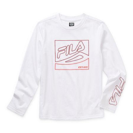 Fila Big Boys Round Neck Long Sleeve T-Shirt, Large (14-16) , White