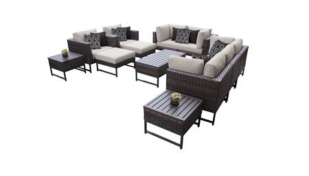 Barcelona BARCELONA-12h-BRN-BEIGE 12-Piece Patio Set 12h with 4 Corner Chairs  2 Club Chairs  1 Armless Chair  1 Coffee Table  2 Ottomans  2 End