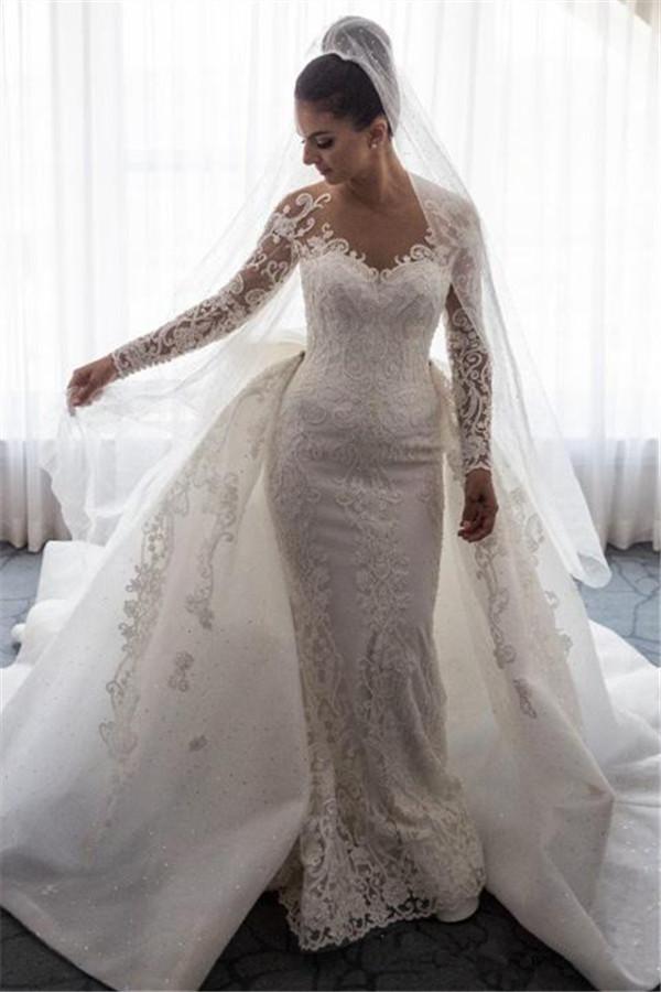 Magnifico vestido de novia de la boda del bowknot del cordon de la sirena   Vestido de novia con manga extragrande extraible