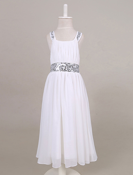 Milanoo Chiffon Flower Girl Dress Sequin Back Criss-cross Tea-length Toddler's Dinner Dress