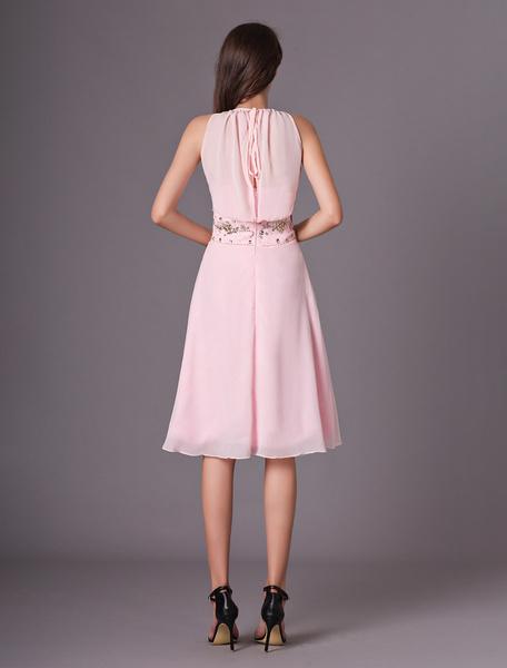 Milanoo Elegant V-Neck Knee-Length Chiffon Beading Bridesmaid Dress
