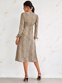 Tie Cuff Split Thigh Allover Print Dress