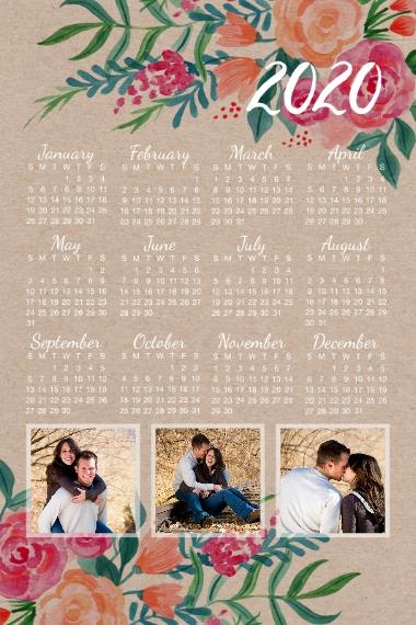 Calendar 20x30 Adhesive Poster, Home Décor -Rustic