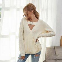 Pullover mit V-Ausschnitt vorn und Schluesselloch Kragen