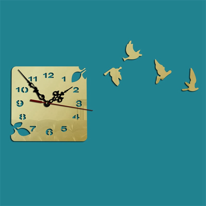 Square Shape And Bird Pattern 3 Color Simple Design 3D Acrylic Pattern Specular Mute Wall Clock