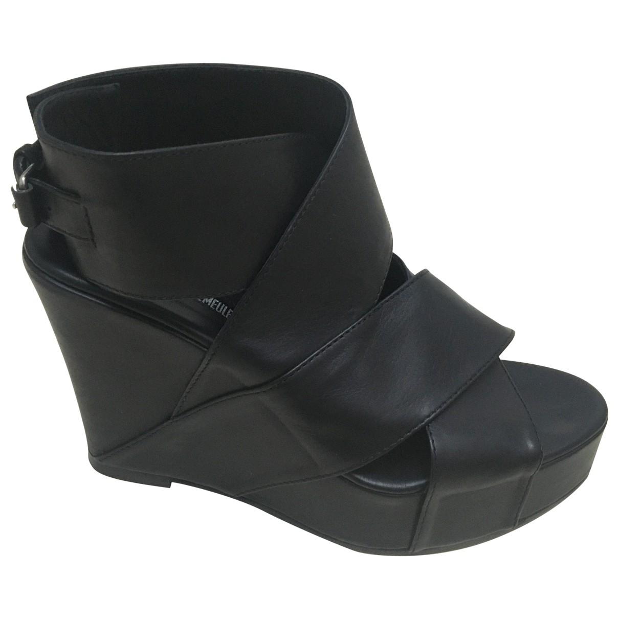 Ann Demeulemeester - Sandales   pour femme en cuir - noir