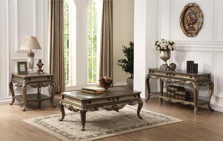 Ragenardus Collection 86030SET 3 PC Living Room Set with Coffee Table + End Table + Sofa Table in Vintage Oak