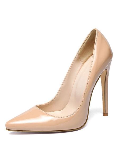 Milanoo Nude High Heels Plus Size Pointed Toe Heels Women Stiletto Heel Dress Shoes