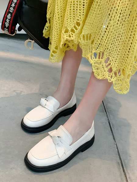 Milanoo White Women Loafers PU Leather Round Toe Bows Slip On Casual Shoes