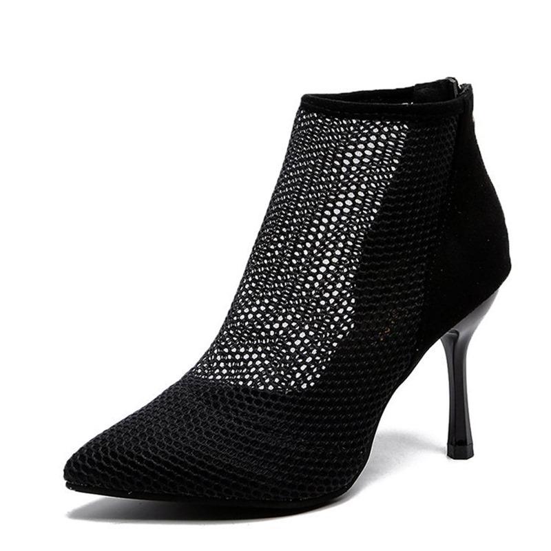 Ericdress Plain Back Zip Pointed Toe Mesh Women's Boots