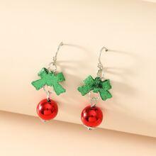 Christmas Bow Knot Drop Earrings