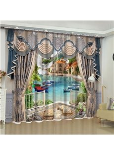 3D Simulation Retro Drape and White Doves with Boats and River Printed Custom Curtain