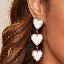 1pair Layered Heart Drop Earrings