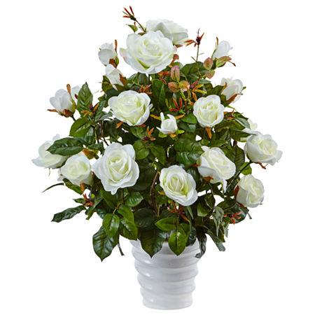 Rose Bush Silk Arrangement in Swirl Planter, One Size , White
