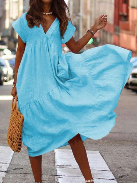 Milanoo Vestido de verano de gran tamaño con cuello en V Vestido maxi de playa para mujer
