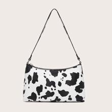 Bolsa baguette con estampado de vaca