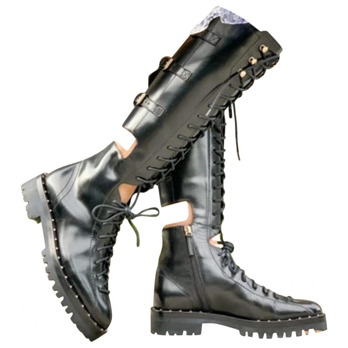 Valentino Garavani \N Black Leather Boots for Women 38 EU