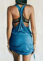 Open Back V-Neck Ruffled Mini Dress - Blue