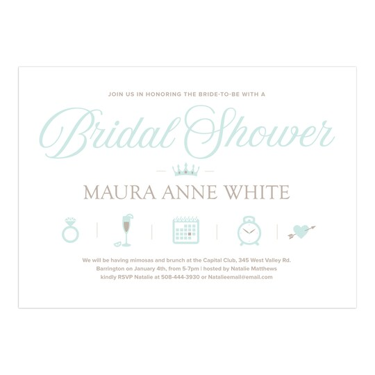 20 Pack of Gartner Studios® Personalized Icons Wedding Bridal Shower Invitation in Mint | 5