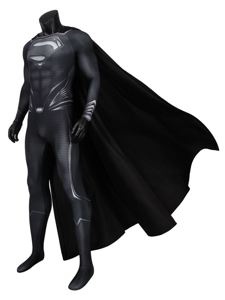 Milanoo Superman Black Suit Justice League Recovery Suit Clark Kent DC Comic Cosplay Costume