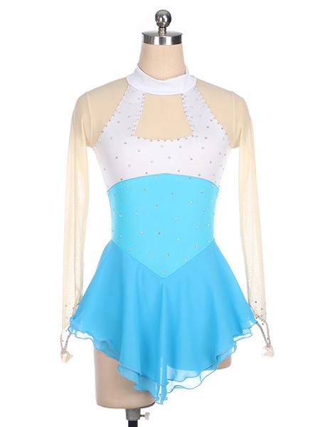 Milanoo Vestido de patinaje Azul cielo claro Trajes de baile de bloques de color de terciopelo coreano