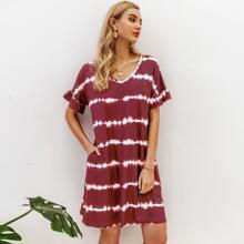 Ruffle Sleeve Hidden Pocket Tie Dye Striped Dress