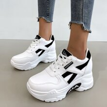 Lace Up Front Hidden Wedge Sneakers