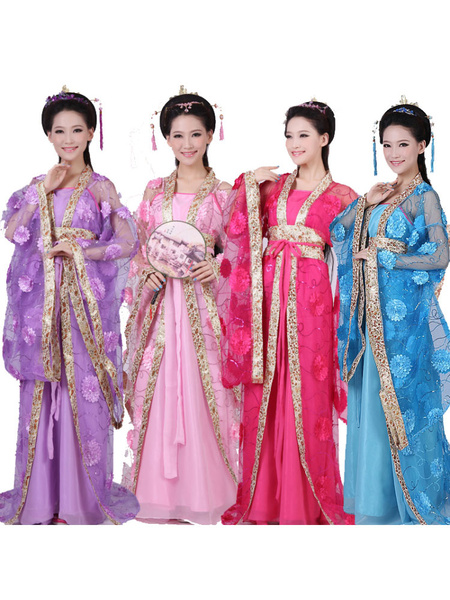 Milanoo Traditional Chinese Costume Female Tulle Hanfu Dress Ancient Tang Dynasty Clothing 3 Pieces