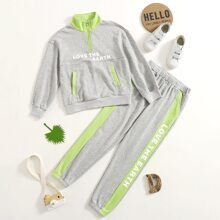 Girls Slogan Graphic Contrast Panel Zip Half Sweatshirt and Sweatpants Set