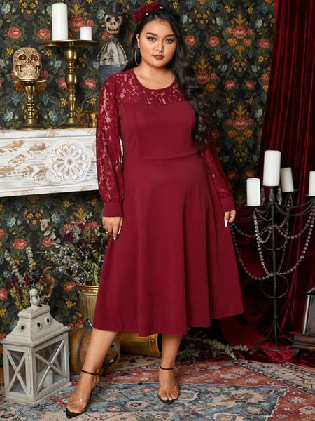 Yoins Plus Size Halloween Crew Neck Lace Long Sleeves Midi Dress