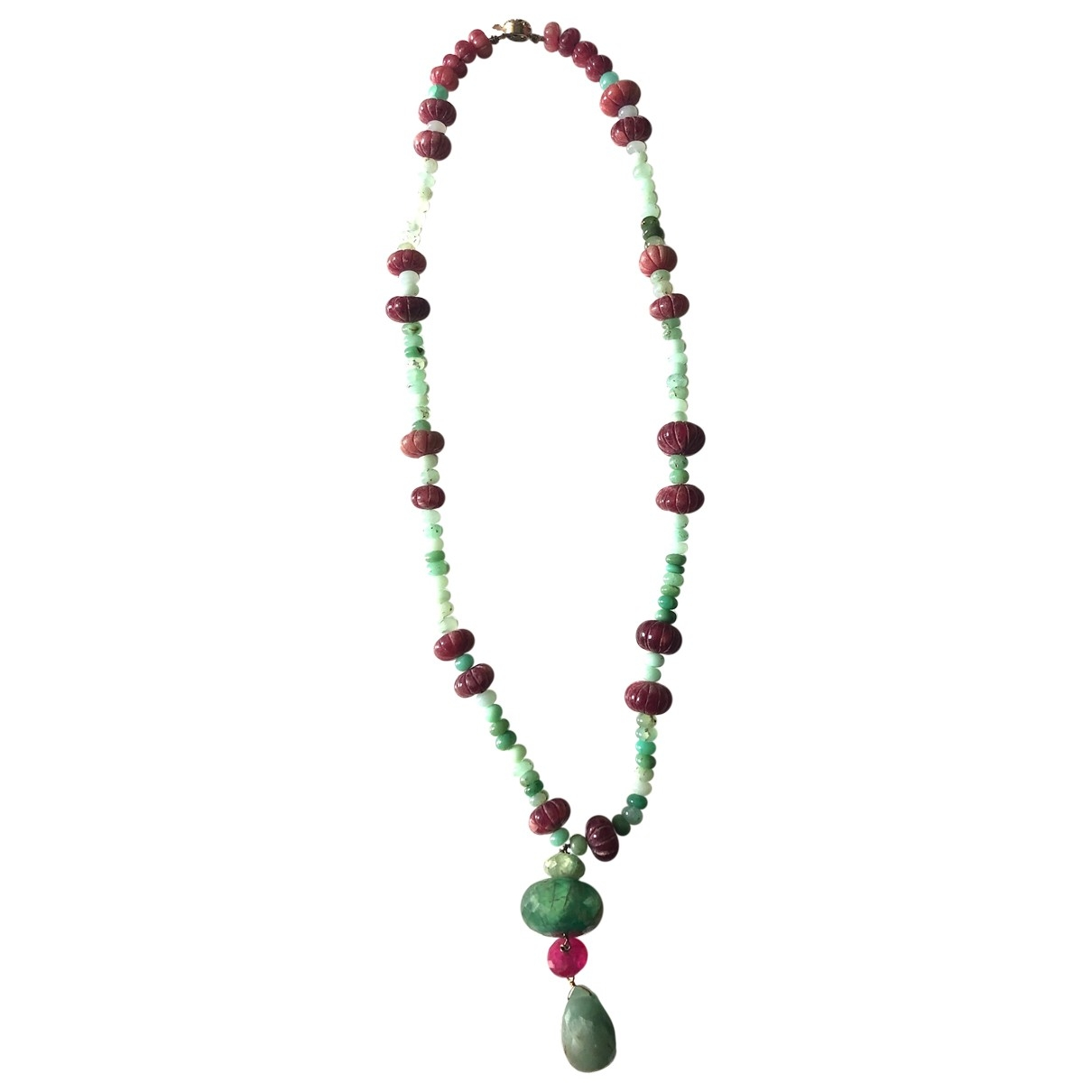 Non Signé / Unsigned Motifs Ethniques Green Jade Long necklace for Women \N
