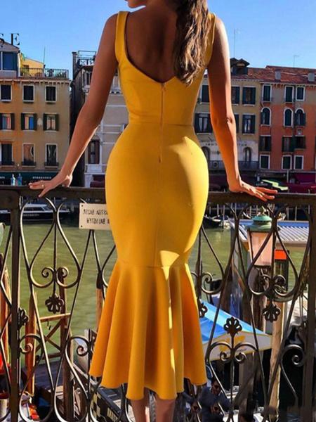 Milanoo Vestidos ajustados sexy Vestido de fiesta sin mangas con volantes con cuello en U para mujer