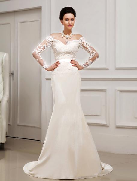 Milanoo Vestido de novia de chifon de color marfil con escote de corazon de cola barrida