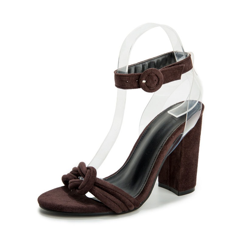 Ericdress Open Toe Line-Style Buckle Chunky Heel Casual Sandals