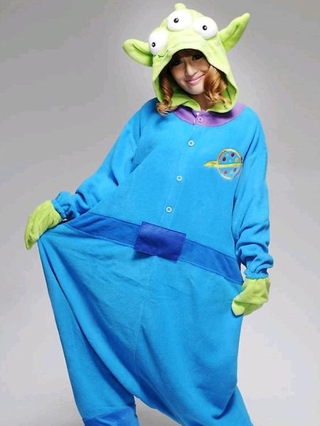Milanoo Kigurumi Pajamas Onesie Toy Story Alien Costume Green Three Eye Adult Flannel Winter Sleepwear Halloween