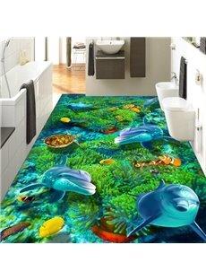 Cute Dolphin PVC 3D Non-slip Waterproof Eco-friendly Self-Adhesive Floor Murals