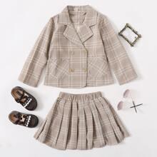 Toddler Girls Double Breasted Plaid Blazer & Skirt