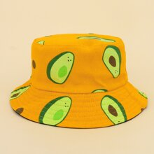 Kids Cartoon Avocado Graphic Reversible Bucket Hat