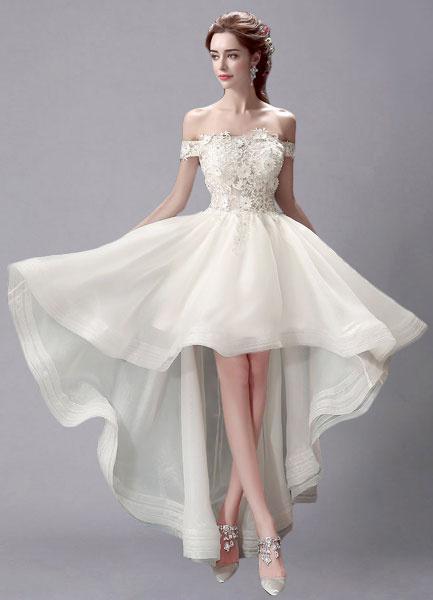Milanoo Marfil Vestido de novia de encaje con escote redondo y alto bajo