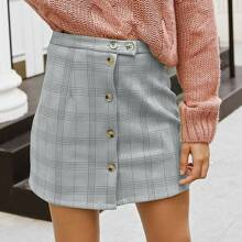 Plaid Button Front Suede Skirt