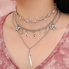 Thorn & Angel Charm Layered Necklace
