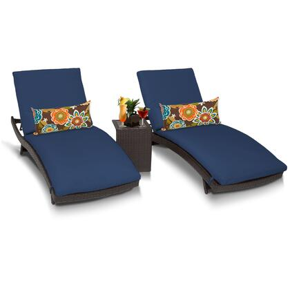 BALI-2x-ST-NAVY Bali Chaise Set of 2 Outdoor Wicker Patio Furniture With Side Table with 2 Covers: Wheat and