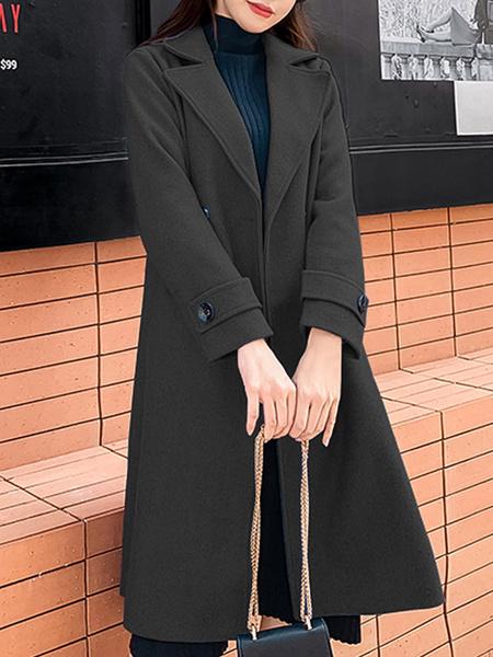 Milanoo Women Pea Coat Blue Turndown Collar Long Sleeve Double Breasted Wrap Coat
