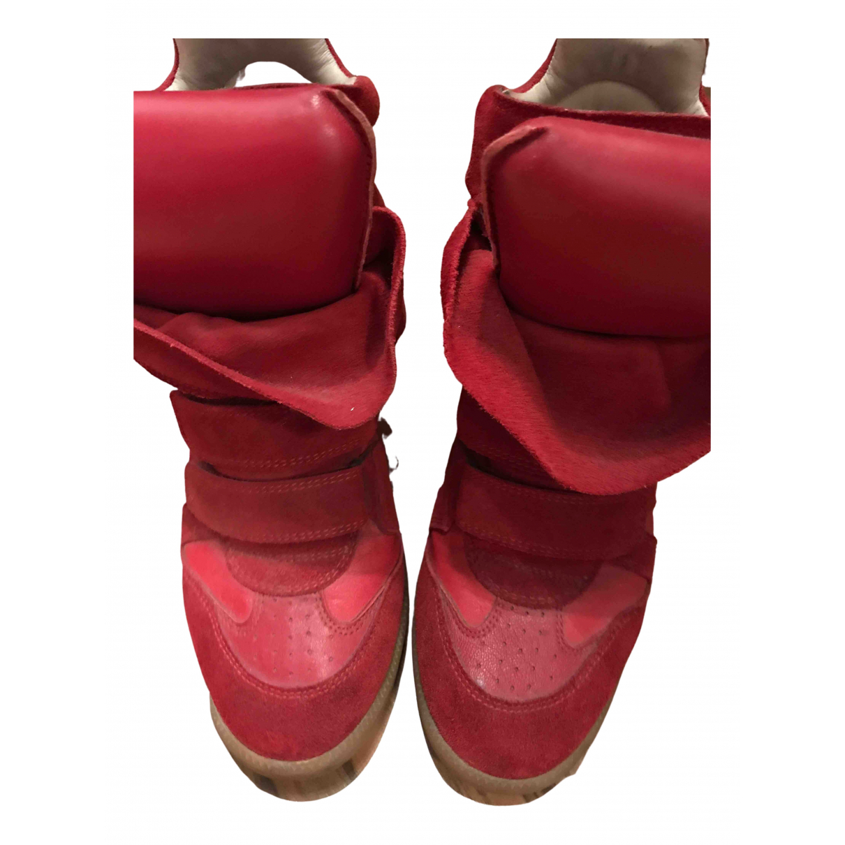 Isabel Marant Beckett Red Leather Trainers for Women 38 EU