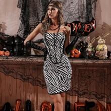 Zip Back Zebra Striped Tube Dress