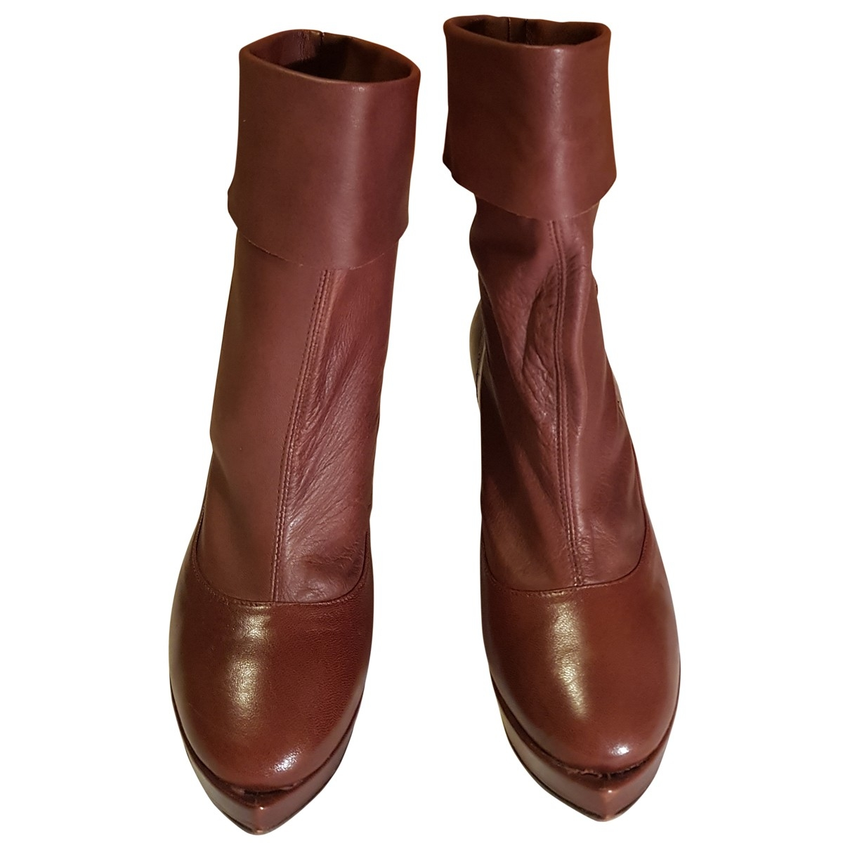 Non Signé / Unsigned \N Brown Patent leather Ankle boots for Women 38 EU